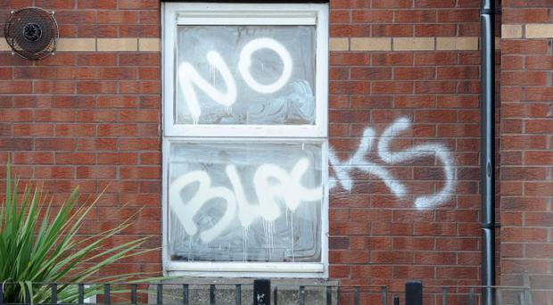 Racist graffiti painted on a house in Bloomfield Drive, East Belfast. Photo by Presseye - Declan Roughan