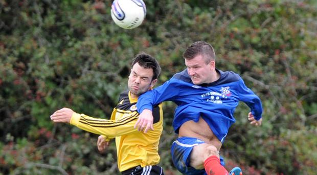 Action from Albert Foundry v Shankill United, Irish Cup second round, October 12