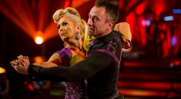 Vanessa Feltz and James Jordan performing on BBC 1's Strictly Come Dancing. Photo Guy Levy/BBC/PA Wire