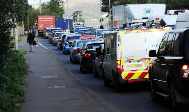 Heavy traffic near the Black's Road in Belfast due to a security alert that caused major traffic disruption on Monday morning. Pic Colm Lenaghan/Pacemaker