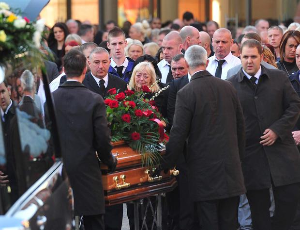 Relatives at the funeral of Belfast man Kevin Kearney who was shot dead in North Belfast last week.
