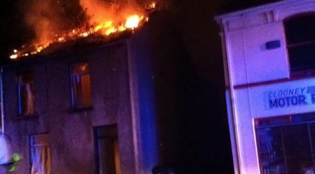 The fire at a house on Bonds Street, Derry. Photograph by Troy Rhodes/Twitter