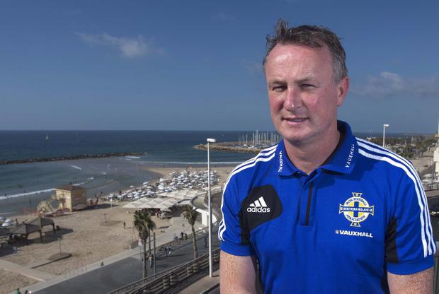 Northern Ireland manager Michael O'Neill after Monday's press conference in Tel Aviv ahead of tonight's 2014 World Cup Qualifier against Israel