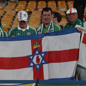 Northern Ireland's fans at the Ramat gan stadium in Tel Aviv. Photo Gil Hadani/Pacemaker Press