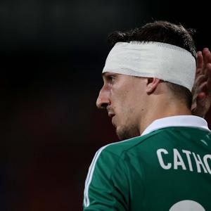 Northern Ireland's Craig Cathcart during Tuesday night's 2014 World Cup Qualifier at the Ramat Gan stadium in Tel Aviv.