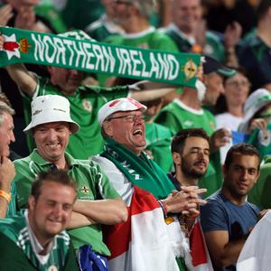 Northern Ireland fans during Tuesday night's 2014 World Cup Qualifier at the Ramat Gan stadium in Tel Aviv.