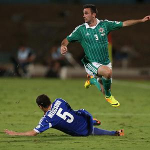 Israel's Maor Melikson with Northern Ireland's Daniel Lafferty during Tuesday nights 2014 World Cup Qualifier at the Ramat Gan stadium in Tel Aviv.