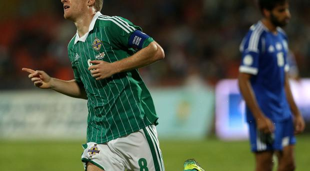 Northern Ireland's Steven Davis celebrates scoring against Israel during Tuesday night's 2014 World Cup Qualifier at the Ramat Gan stadium in Tel Aviv.
