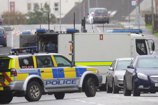 Police and Army bomb experts at the scene at Sloan Street in Lurgan as Ceara Special School and Carrick Primary School in Lurgan have been closed following the discovery of a suspicious object. Pic Colm Lenaghan/Pacemaker