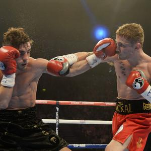 19/10/2013 PACEMAKER BELFAST. Carl Framton v Jeremy Parodi during this evenings Carl Frampton bill at the Odyssey Arena,Belfast. Photo Charles McQuillan/Pacemaker Press