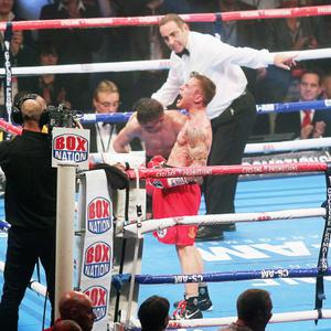 Northern Ireland- 19th October 2013 Mandatory Credit - Photo-Jonathan Porter/Presseye. Carl Frampton celebrates after winning his world title eliminator against Frenchman Jeremy Parodi at the Odyssey Arena in Belfast