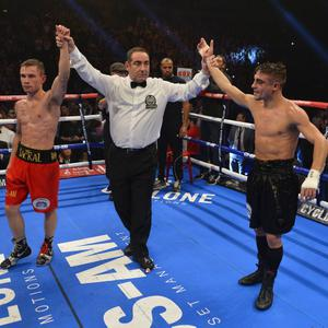 ©Russell Pritchard 19th October 2013 Cyclone Promotions presents Boxing at The Odyssey Arena. 12 x 3 Minute rounds IBF World Title Eliminator and European Title Defence between Carl Frampton (Belfast) and Jeremy Parodi, (France) ©Russell Pritchard / Presseye