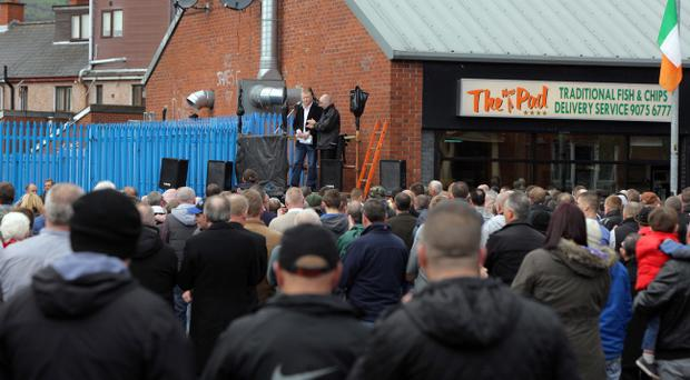 A memorial ceremony for IRA man Thomas Begley who died while planting a bomb on the Shankill Road, killing himself and nine other people 20 years ago.