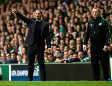 Ajax manager Frank de Boer and Celtic manager Neil Lennon (right) during last month's UEFA Champions League, Group H match at Celtic Park, Glasgow