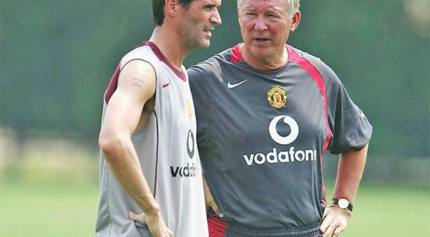 Roy Keane and Sir Alex Ferguson together at Manchester United in more amiable times