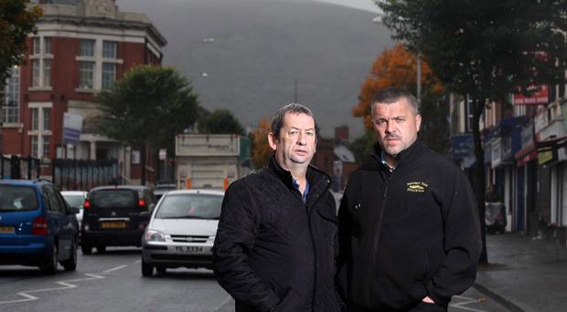 Rescuers: Marty Marchant(right) and Alfie McCrory pictured at the Shankill bomb memorial garden. The two men pulled people form the rubble in the aftermath of the IRA bomb attack at the fishmongers in which 10 people were killed including one of the bombers. Photo by Jonathan Porter/Presseye.