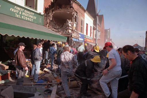 The IRA bomb in Frizell's fish shop killed 9 innocent people and one bomber. Picture shows a scene of devastation across the Shankill Road on a busy Saturday afternoon
