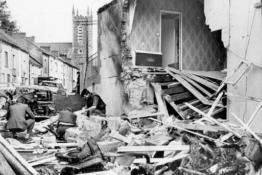 The aftermath of the UVF Step Inn pub bombing in Keady in August 1976