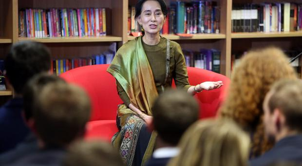 Aung San Suu Kyi takes questions from pupils at Wellington College in Belfast