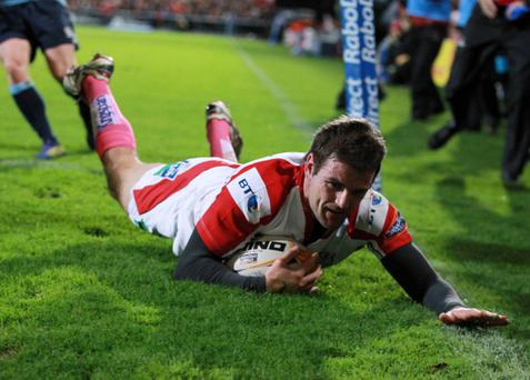 Rabo Pro12 Ulster v Cardiff Blues at Ravenhill. Jared Payne slides in for Ulster's second try