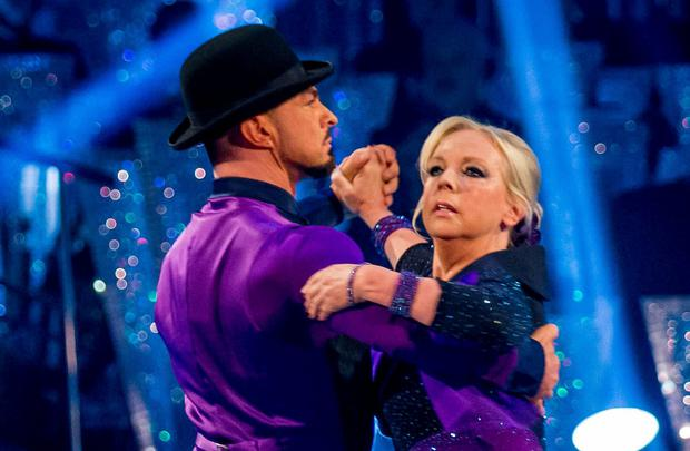 Robin Windsor and Deborah Meaden performing during the live show for the BBC programme Strictly Come Dancing.