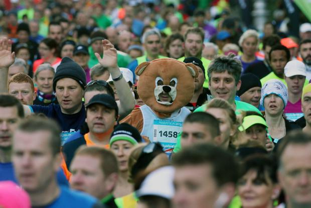 Runners in fancy dress during the 34th Dublin Marathon.