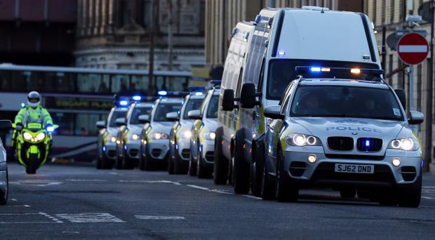 Five people with alleged links to dissident Republicanism arrive at Glasgow Sheriff Court charged with terrorism offences and conspiracy to murder