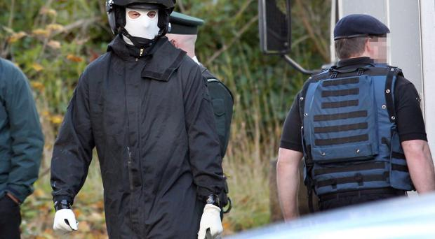 Bomb disposal officers at the Public Prosecution Service offices in Londonderry on Monday