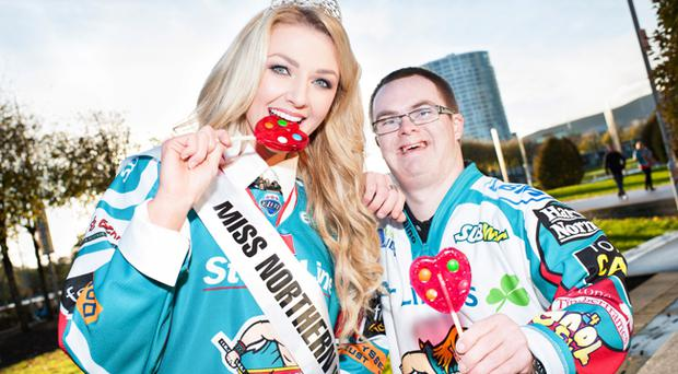 Miss NI Meagan Green with Special Olympics Ulster athlete, Stephen Kennedy from Salto Special Olympics Club in Belfast as they helped to Power Kindness for Special Olympics Ireland at the Belfast Giants' game on Sunday 3rd November