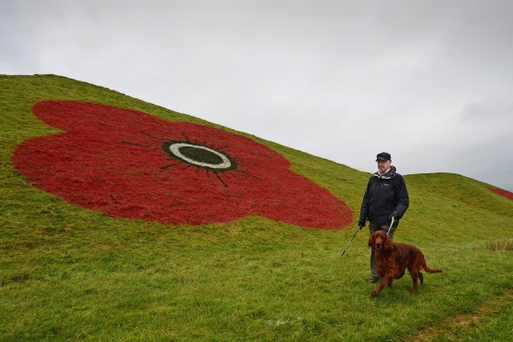 A giant poppy painted on the side of the Bathgate Pyramids in Glasgow to mark Remembrance Day