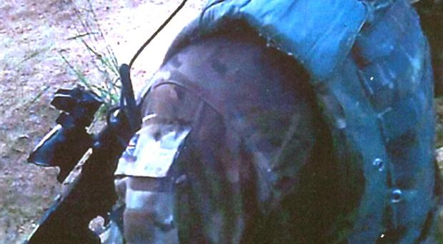 Image issued by the Ministry of Defence of footage captured by a camera mounted on the helmet of a Royal Marine during a patrol in Afghanistan in which an insurgent was allegedly executed