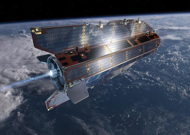 Research satellite GOCE flies above earth. The European Space Agency says it will crash to Earth on Sunday night, most likely over the ocean or polar regions. (AP Photo/European Space Agency,ESA)