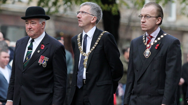 Armistice Day Service at the Cenotaph in the grounds of the City Hall in Belfast. Sinn Fein Lord Mayor Mairtin O Muilleoir (centre)