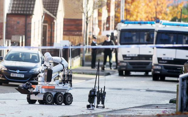 Security alert on Spamount Street in the Newlodge area of north Belfast. Pic Jonathan Porter