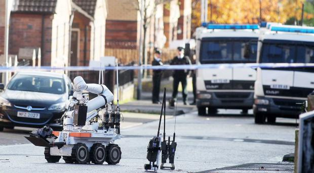 A viable pipe bomb has been found during a security alert in west Belfast