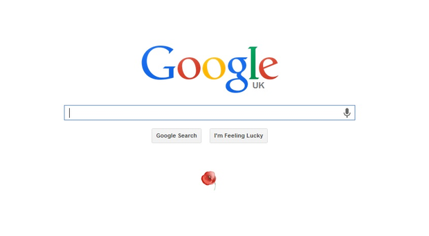 Is this demeaning Britain's war dead? Search engine giant Google placed a small poppy symbol beneath the search bar to mark Armistice Day.