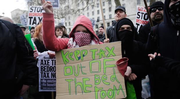 Bedroom tax protesters on the streets of London earlier this year