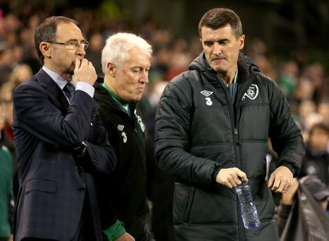 Republic of Ireland manager Martin O'Neill and Assistant manager Roy Keane during the International Friendly match between Republic of Ireland and Latvia at Aviva Stadium