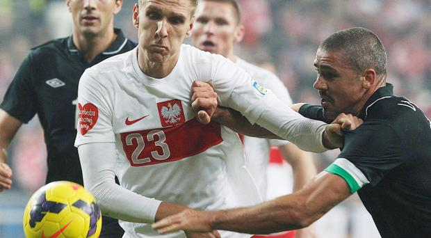Poland's Lukasz Teodorczyk ,left, and Ireland's Jonathan Walters ,right, challenge for the ball during their friendly soccer match in Poznan, Poland, Tuesday, Nov.19,2013.(AP Photo/Czarek Sokolowski)