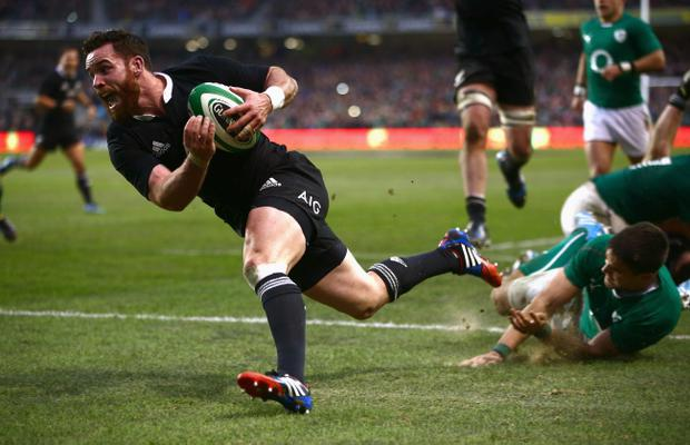 DUBLIN, IRELAND - NOVEMBER 24: Ryan Crotty of the All Blacks scores the match winning try during the International match between Ireland and the New Zealand All Blacks at Aviva Stadium on November 24, 2013 in Dublin, Ireland. (Photo by Phil Walter/Getty Images)