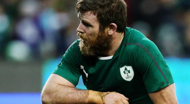 Ireland's Gordon D'Arcy reacts after New Zealand scored a late try during the Guinness Series match at the Aviva Stadium, Dublin, Ireland.