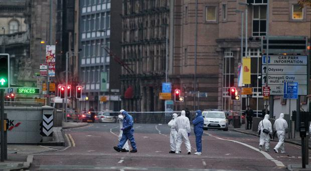 The scene at the top of Chichester Street in Belfast city centre beside Victoria Square where a car bomb partially exploded