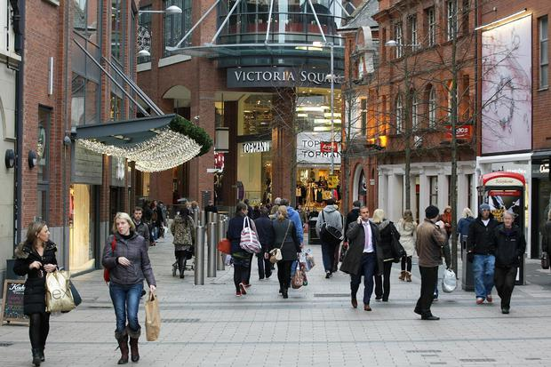 Shoppers at Victoria Square in Belfast pictured from Corn Market