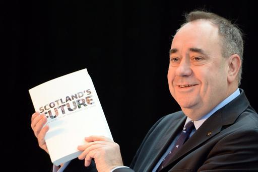 Scottish First Minister Alex Salmond presents the White Paper for Scottish independence at the Science Museum in Glasgow