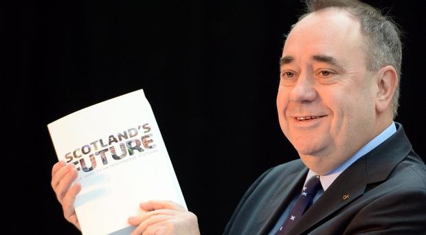 Scottish First Minister Alex Salmond presents the White Paper for Scottish independence at the Science Museum Glasgow on November 26, 2013 in Glasgow, Scotland
