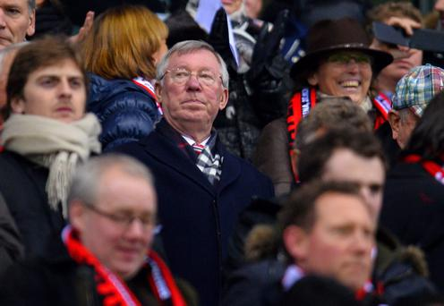 LEVERKUSEN, GERMANY - NOVEMBER 27: Sir Alex Ferguson looks on from the crowd during the UEFA Champions League Group A match between Bayer Leverkusen and Manchester United at BayArena on November 27, 2013 in Leverkusen, Germany. (Photo by Lars Baron/Bongarts/Getty Images)