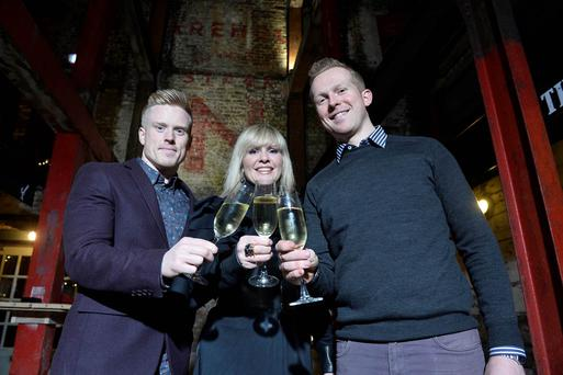 Conall Wolsey, Petra Wolsey and Tim Herron at the official launch of Belfast's newest entertainment complex, comprising bar & live music venue, The Dirty Onion and free range rotisserie chicken restaurant, Yard Bird located on Hill Street in the Cathedral Quarter