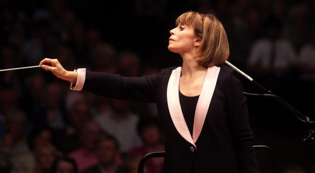 JoAnn Faletta, conducting the Ulster Orchestra in the Ulster Hall, Belfast