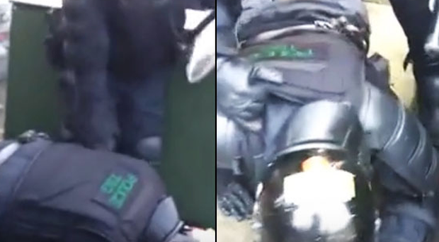 Footage shows the moment a police officer was knocked to the ground amid trouble Belfast