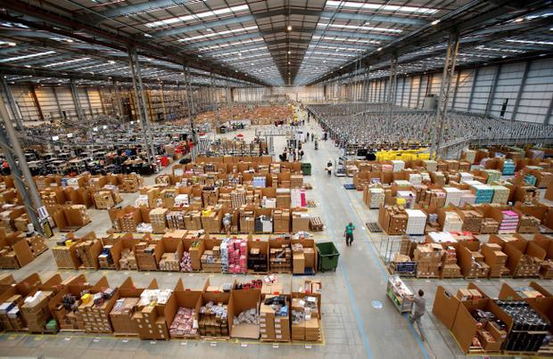 Amazon's fulfillment centre in Peterborough Cambridgeshire. Online retailers are expecting their busiest day of the year as pre-Christmas shoppers take part in Cyber Monday